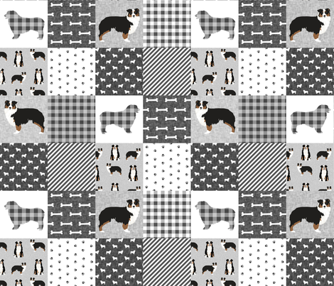 aussie tricolored cheater quilt grey and black  fabric by petfriendly on Spoonflower - custom fabric