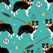 border collie witch wizard magic dog fabric teal