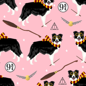border collie witch wizard magic dog fabric pink
