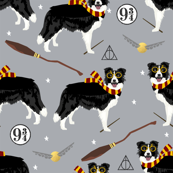 border collie witch wizard magic dog fabric grey