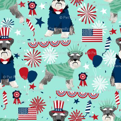schnauzer patriotic dog breed fabric blue