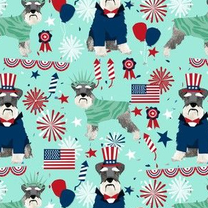 schnauzer patriotic dog breed fabric blue