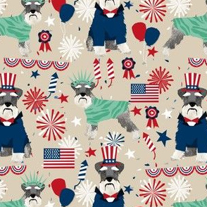 schnauzer patriotic dog breed fabric tan