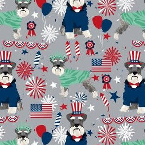 schnauzer patriotic dog breed fabric grey