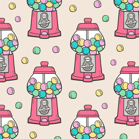 Bubble Gumball Machine on Yellow fabric by caja_design on Spoonflower - custom fabric