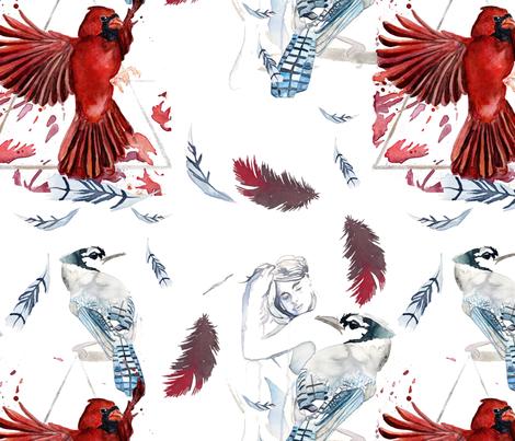 Cardinal Blue Jay Fabric Dreneewilson Spoonflower