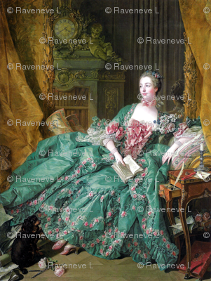 Madame de Pompadour baroque rococo victorian green ballgowns pink roses Marie Antoinette floral flowers cherubs angels french france beautiful woman books gowns portraits lady mistress of king Louis XV beauty dogs cocker spaniel romantic study rooms bedr