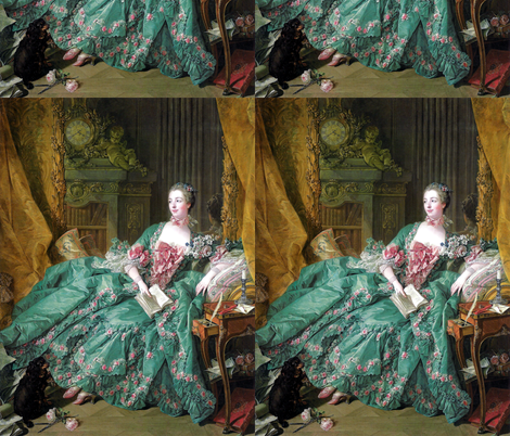 Madame de Pompadour baroque rococo victorian green ballgowns pink roses Marie Antoinette floral flowers cherubs angels french france beautiful woman books gowns portraits lady mistress of king Louis XV beauty dogs cocker spaniel romantic study rooms bedr fabric by raveneve on Spoonflower - custom fabric