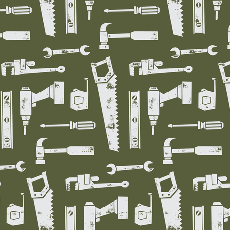 tools - hunter green (90) fabric by littlearrowdesign on Spoonflower - custom fabric