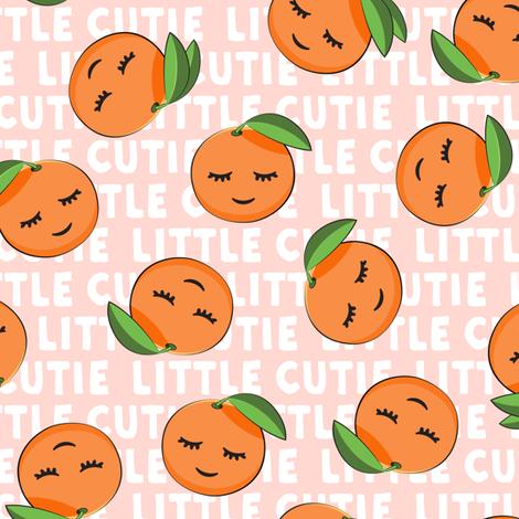 Little Cutie - Happy Oranges - summer fabric (pink) fabric by littlearrowdesign on Spoonflower - custom fabric