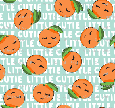 Little Cutie - Happy Oranges - summer fabric (aqua)