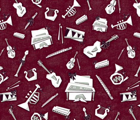 A Merry Musical Holiday fabric by zirkus_design on Spoonflower - custom fabric