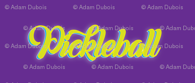 Pickleball Text in Yellow on Purple