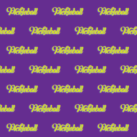 Pickleball Text in Yellow on Purple fabric by fabrique_dubois on Spoonflower - custom fabric