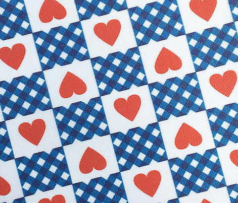 Gingham Heart Check* (Blue Liz) || hearts checkerboard 70s 1970s retro vintage red valentine valentines day