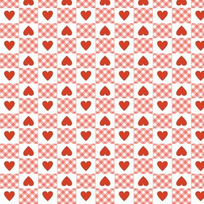 Gingham Heart Check* (Mona Lisa) || hearts checkerboard 70s 1970s retro vintage pink red