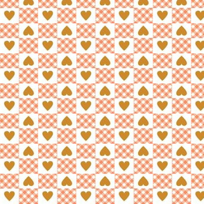 Gingham Heart Check* (Peach Halves)    hearts checkerboard 70s 1970s retro vintage coral mustard gold harvest valentine valentines day
