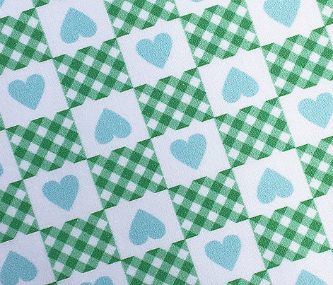 Gingham Heart Check* (Green Stamps) || hearts checkerboard 70s 1970s retro vintage mint pastel turquoise valentine valentines day