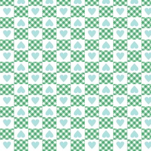 Gingham Heart Check* (Green Stamps)    hearts checkerboard 70s 1970s retro vintage mint pastel turquoise valentine valentines day