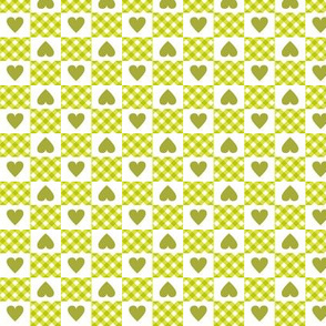 Gingham Heart Check* (Lime)    hearts checkerboard 70s 1970s retro vintage chartreuse avocado olive green valentine valentines day