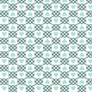 Gingham Heart Check* (Camouflage) || hearts checkerboard 70s 1970s retro vintage turquoise pastel