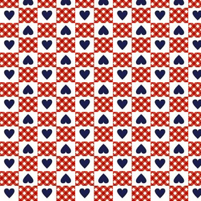 Gingham Heart Check* (Tomato Soup)    hearts checkerboard 70s 1970s retro vintage red white blue navy patriotic valentine valentines day