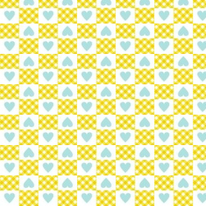 Gingham Heart Check* (Diamond Dust) || hearts checkerboard 70s 1970s retro vintage yellow turquoise pastel baby nursery
