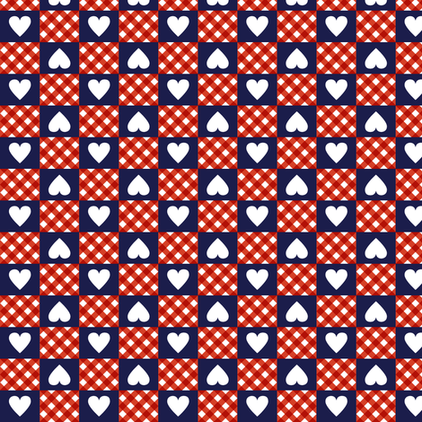 Gingham Heart Check Jackie Blue Hearts Checkerboard 70s 1970s