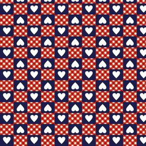 Gingham Heart Check* (Jackie Blue) || hearts checkerboard 70s 1970s retro vintage red white navy patriotic July 4th Independence Day