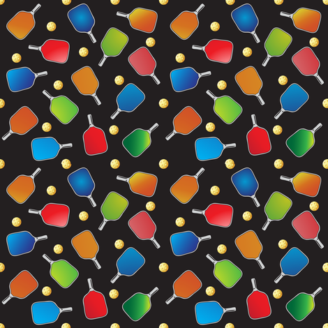 Pickleball Paddles N' Balls with Black Background fabric by fabrique_dubois on Spoonflower - custom fabric