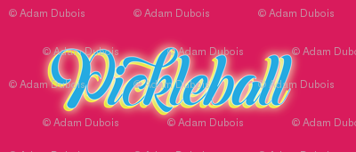 Pickleball Text in Blue on Hot Pink Background