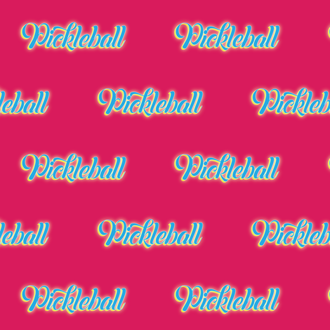 Pickleball Text in Blue on Hot Pink Background fabric by fabrique_dubois on Spoonflower - custom fabric