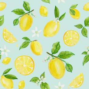 Lemons in Watercolor on Blue