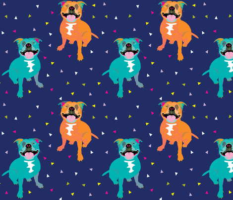 Happy Staffy NAVY by Mount Vic and Me fabric by mountvicandme on Spoonflower - custom fabric