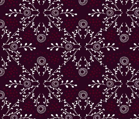 Happy Holly-Days Damask fabric by run_quiltgirl_run on Spoonflower - custom fabric