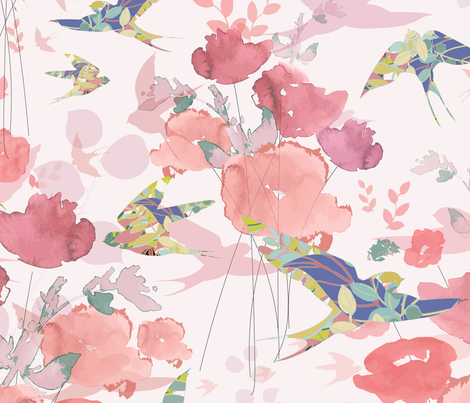 Swallows in Flight - Coral fabric by curtis_mcgintus on Spoonflower - custom fabric