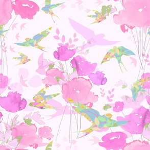 Swallows in Flight - Pink