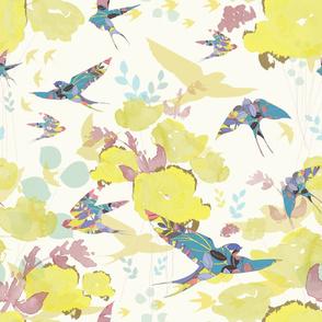 Swallows in Flight - Yellow