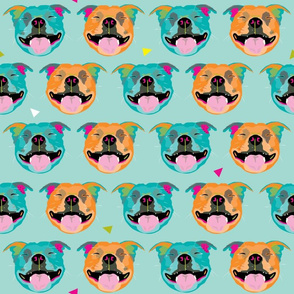 Happy Staffy teal background by Mount Vic and Me
