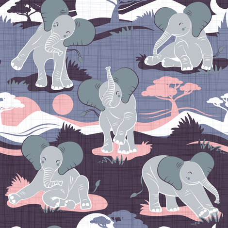 Baby African elephants joy night and day // small scale // pink and violet fabric by selmacardoso on Spoonflower - custom fabric