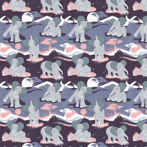 Baby African elephants joy night and day // small scale // pink and violet