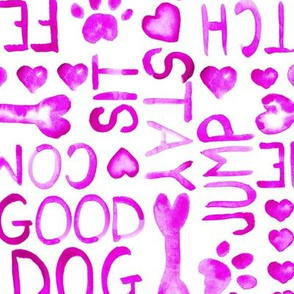 17-14 Dog Pink Watercolor