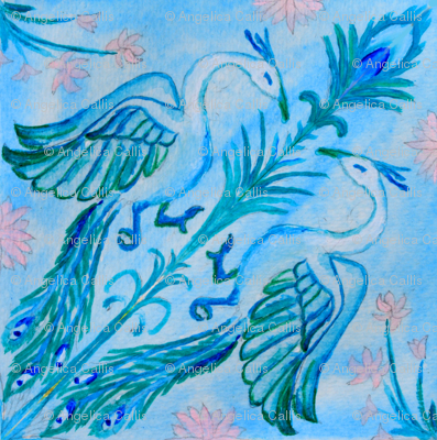 peacock dream in water color