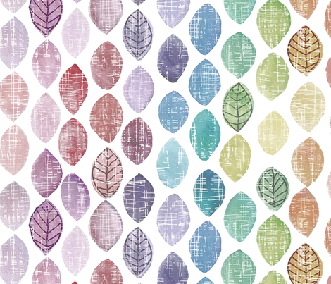 muted rainbow leaves fabric by mrshervi on Spoonflower - custom fabric