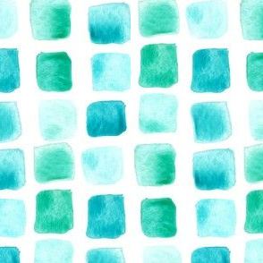 Nautical Blue Mint Teal Jade Green Watercolor Squares Sea Mermaid Large _ Miss Chiff Designs
