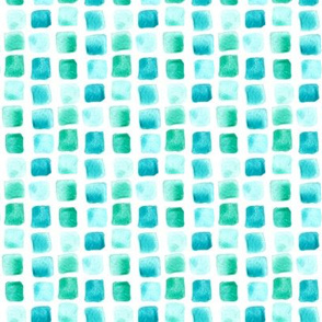 Nautical Mint Teal Jade Green Watercolor Squares Sea Mermaid Small _ Miss Chiff Designs