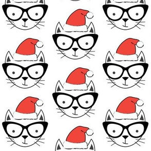 hipster cats with santa hats
