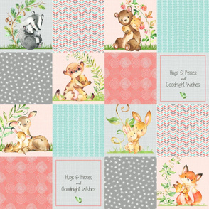 Hugs & Kisses Patchwork Quilt Panel - Baby Girl Animals Cheater Quilt- Coral, Steel Grey, Mint