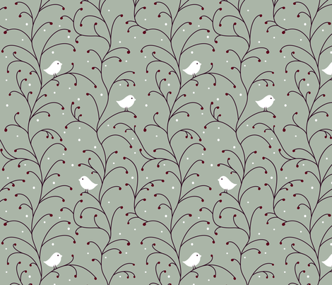 Winter Berries fabric by vintage_style on Spoonflower - custom fabric