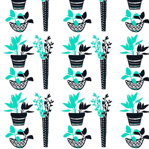 Potted Herbs - Teal & Black